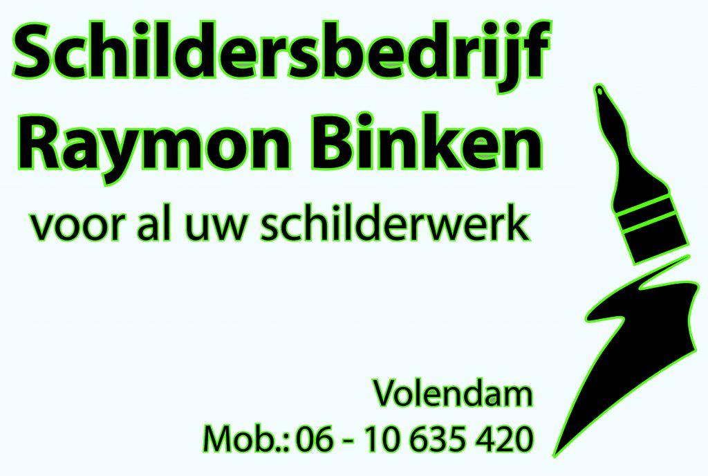 Schildersbedrijf Raymond Binken met outline neon groen.cdr